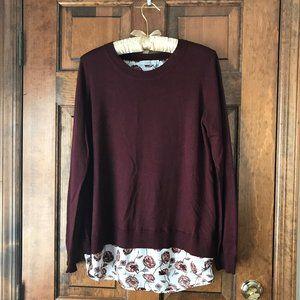 Dalia Maroon Sweater w/Flowered Shirttail Large